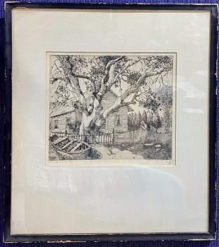 Etching by Walter R Locke, Net Mender, c.1937