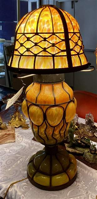 Huge Art Deco blow out glass and iron lamp, c.1930