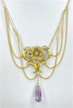 14k amethyst and freshwater pearl necklace,c.1900