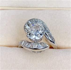 Plat ring w/ 1.60 oval diamond, GIA, 5.30 dwt