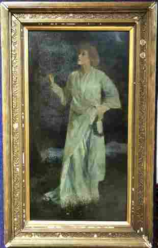 Painting of lady walking at night in garden,circa 1880