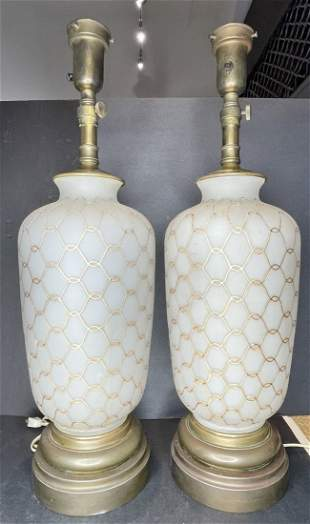 Pair of glass lamps w/ gold string design