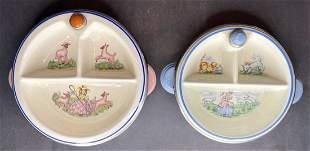 2 Little Bo-Peep baby plates, Bartsch mfg c1940