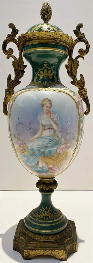 Small green Sevres covered vase 11 inches