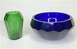 Two colored glass Art Deco items