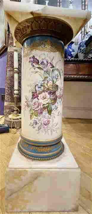 Decorative ceramic and onyx pedestal,c.1880