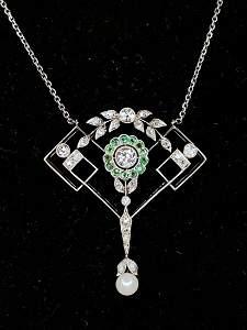 Platinum demantoid, dia pearl necklace,c1910, 4.1dwts