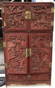 Rare Chinese 18th/19thc cinnabar cabinet E & J Frankel