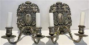 Pair of 1930s silver plated angel sconces
