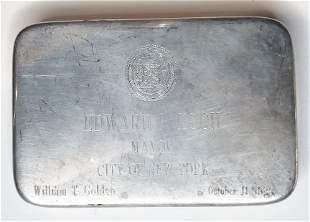 Tiffany Ed Koch silver presentation paperweight, 1989