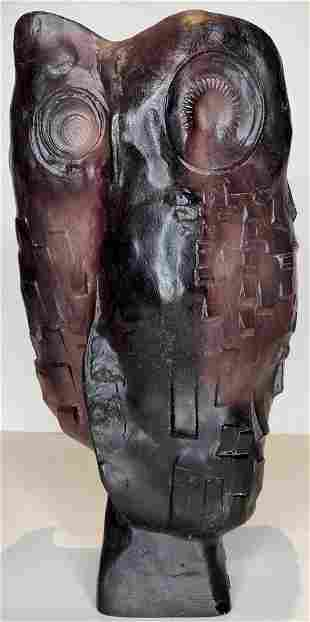 Maurice Legendre pate-de-verre glass owl, Daum