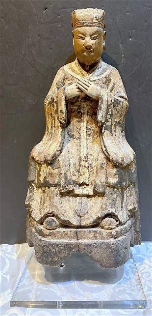 Early Chinese wood carving of Emperor,17th to 19th cent