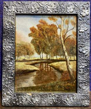 Painting of trees, signed Kathy, c.1940