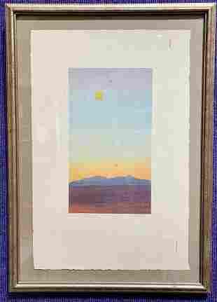 Sunset lithograph, signed illegibly, Landscape VI