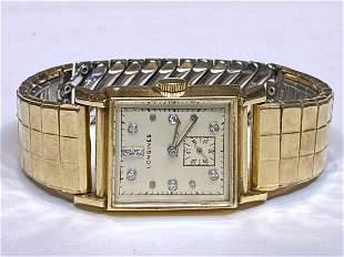 Longines 14k mans wristwatch with diamonds