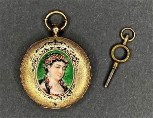 14k gold woman portrait enamel pocket watch
