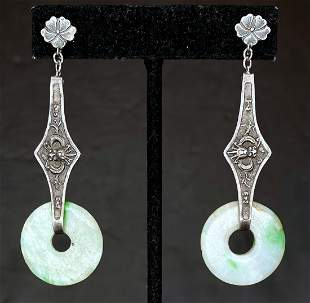 Chinese jade and silver earrings