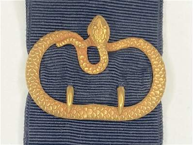 14k gold Whiteside and Blank snake watch fob, C.1880