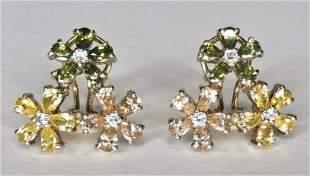 14k citrine, dia, peridot pink sapp Russian earrings