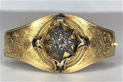 14k rose diamond blue enamel braceletc1880