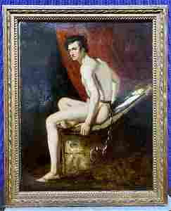 Painting of nude man in chains c.1850