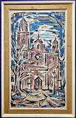 Painting by Victor Laks Baroque Church d1954