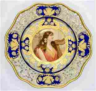 Sevres style portrait plate, girl w harp