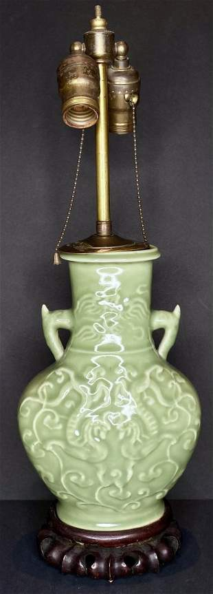 Chinese celadon lamp