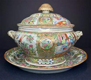 Rose Medallion covered tureen and underplate,c.1900