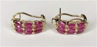 14k ruby diamond earrings, 4.8 dwt
