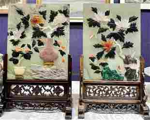 Two similar Chinese hardstone table screens-not a pair