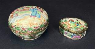 Two Chinese Rose Medallion boxes, c.1900