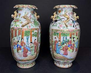 Pair of Chinese Rose Medallion vases,c.1880
