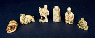 Group of six Japanese netsuke, mostly bone