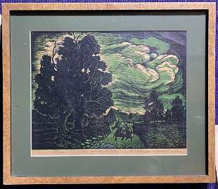 Lithograph of trees, signed and dated 1942
