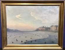 Painting by Carl Leopold Nielsen Copenhagen Lake1934