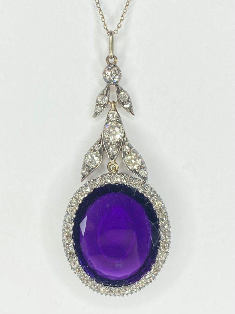 18k plat silver & diamond & amethyst necklace, c.1910
