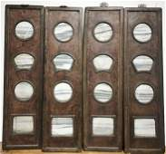 Four Chinese wooden panels with marble inserts