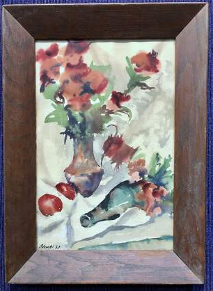 Still life watercolor by Edith Palombi 1950