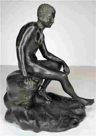 Small bronze of seated Hermes after Lyssipos