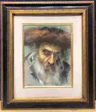 Pastel of Rabbi by Itshak Holtz signed and dated 1969