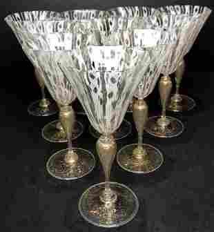 Set of 10 Salviati glasses,c.1950
