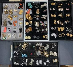 Costume jewelry earrings in 4 trays, 58 pairs