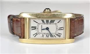 18k Cartier watch with 18k Cartier buckle
