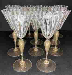 Set of 12 large Salviati glasses, c.1950