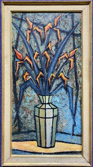Painting of flowers in glass vase, Paolo Venini,c.1950