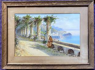 Gouache of monk by coast by Yves Gianni (Italian)
