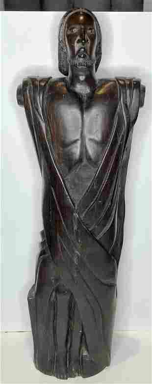 Tall ironwood carving of a bearded man, c.1940