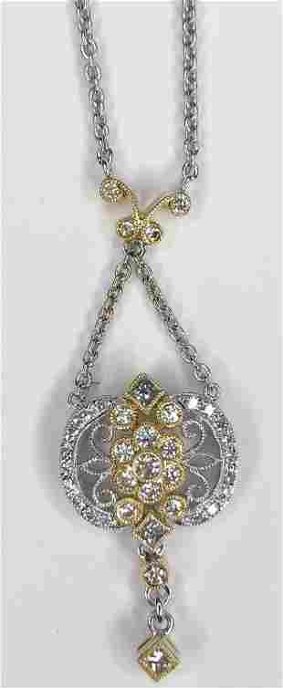 18k white and yellow gold diamond necklace, 3.7dwts