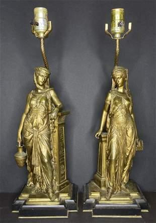 Pair of figural bronze lamps, Eutrope Bouret, c.1880